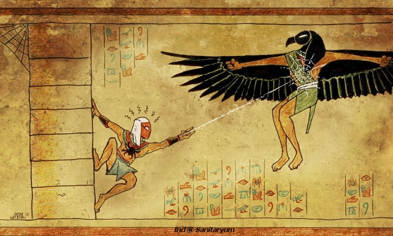 Spiderman Egyptian Hieroglyphs foreigners and the egyptian humor!!! identity magazine