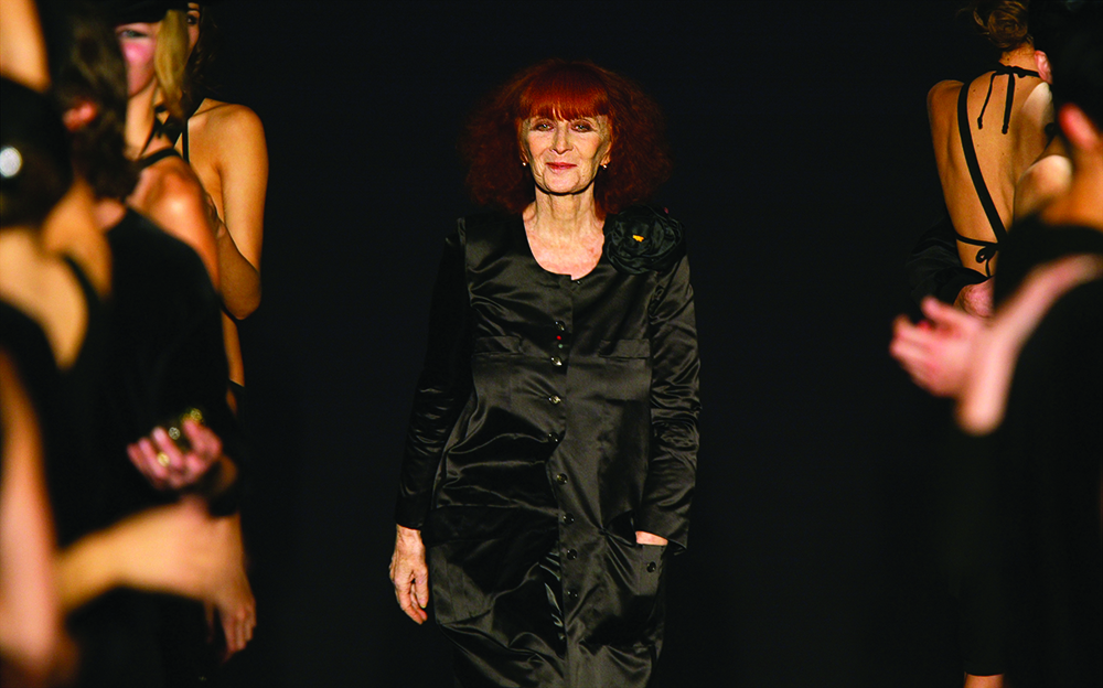 File photO of French fashion designer Sonia Rykiel at the end of a fashion collection in Paris