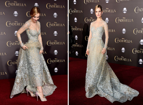 Lily James promoting Cinderella