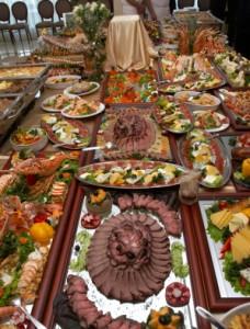 close up buffet table arrangement cattering