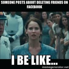 Meme Jennifer Lawrence posts about deleting friends on Facebook