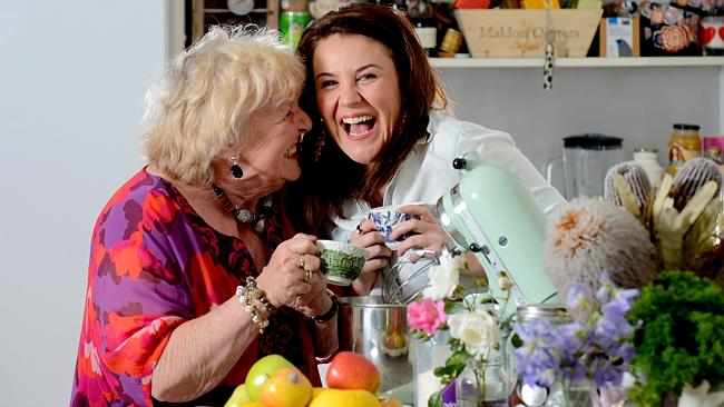 Pauline Tee, 79, with her grand-daughter Rebecca Sullivan of Dirty Girl Kitchen and Granny Skills fame, in Rebecca's North Adelaide home.