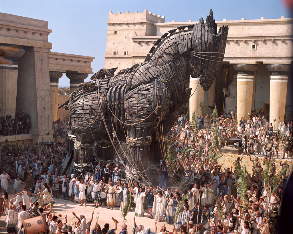 The Trojan Horse stands inside the city of Troy