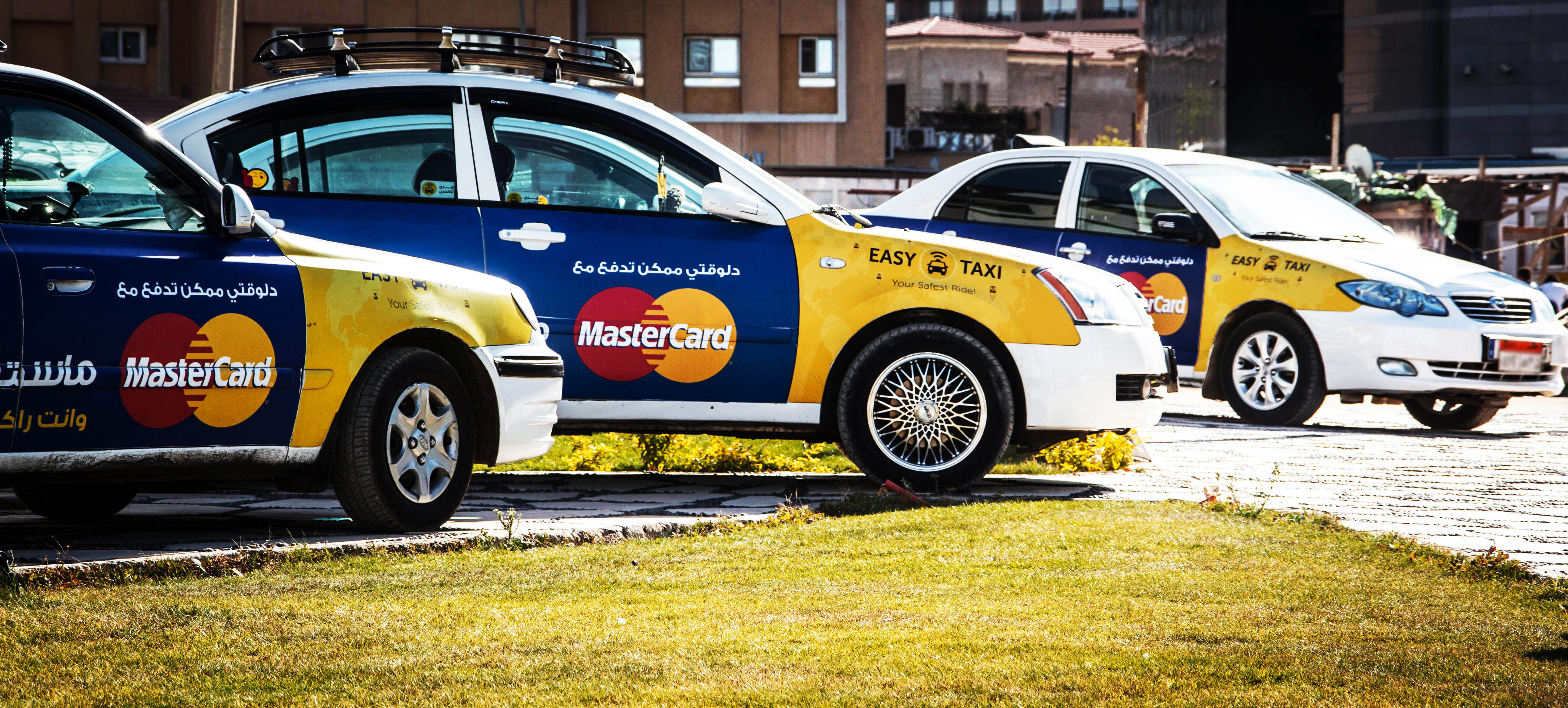 Easy Taxi cars with Mastercard on them