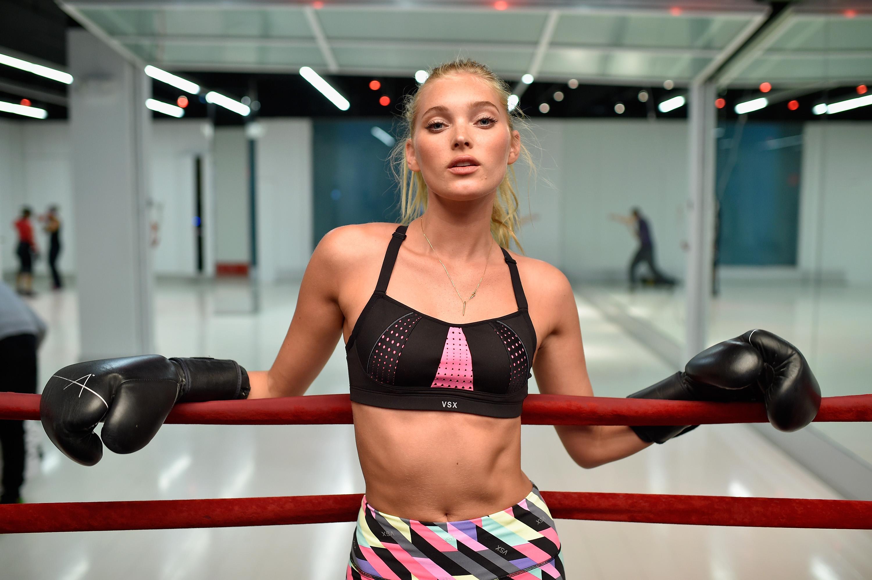 c20b4dfe96fba NEW YORK, NY - JANUARY 07: Victoria's Secret model Elsa Hosk boxes it out  wearing Victoria Secret Sport at Aerospace High Performance Center on  January 7, ...
