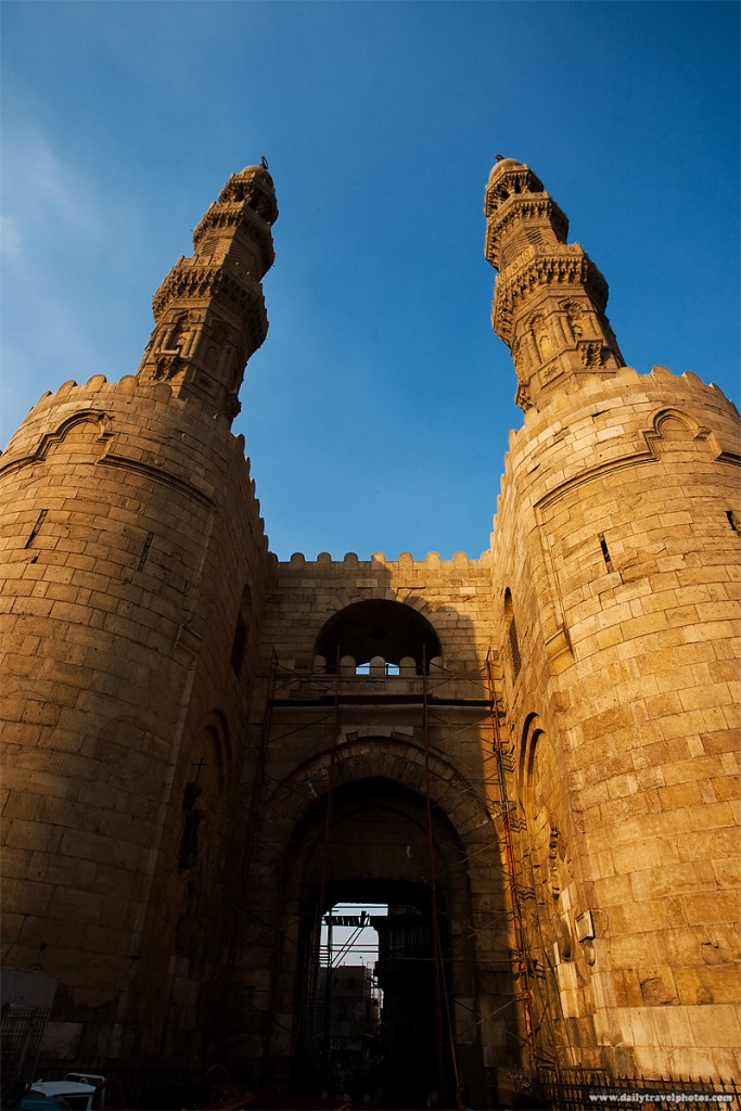 Bab Zuweila, the ancient gateway to the walled city of old Cairo and its high minarets in Islamic Cairo, Egypt