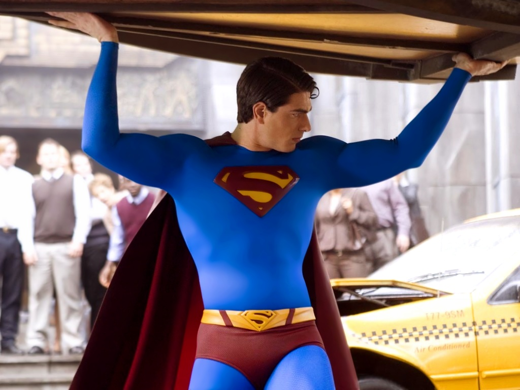 TV-Movies-Poster-Superman-Lifting-a-Car-He-is-Muscular-and-Handsome-Cheer-for-Him-
