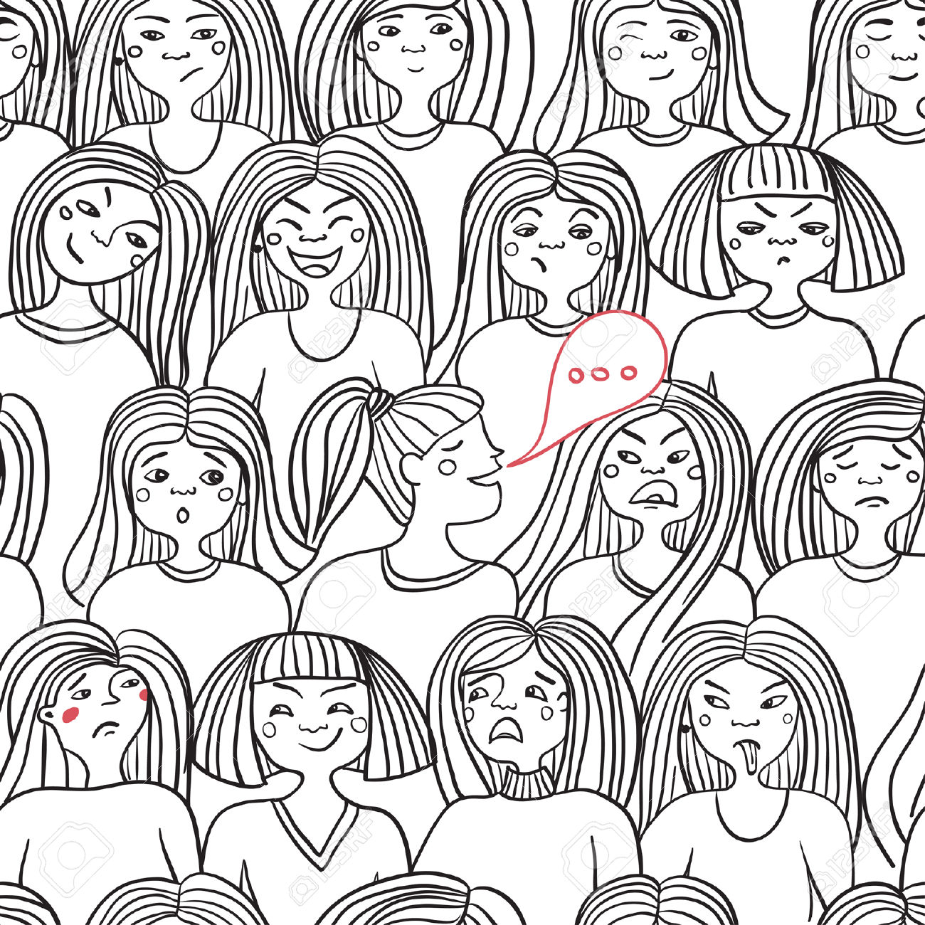 Seamless pattern of women expressing emotions on white background. Can be used as a background, pattern, backdrop, wallpaper or for packaging, bag template, etc.