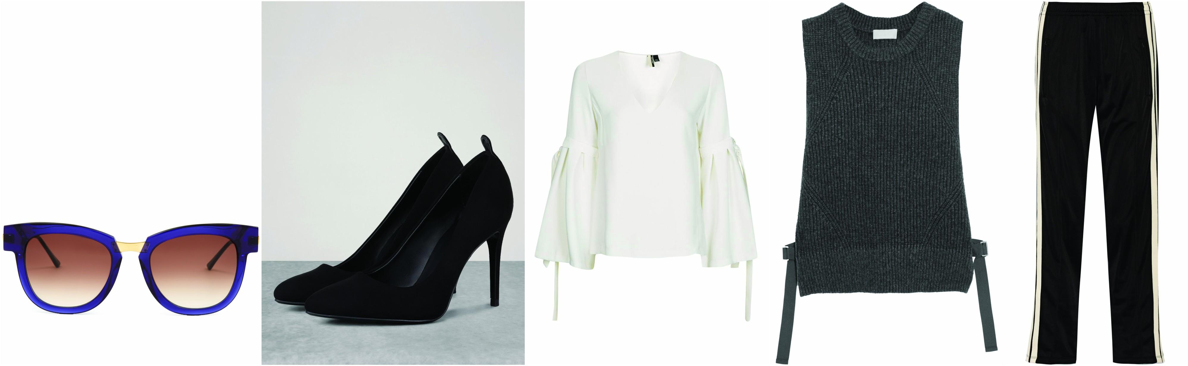 Sunglasses: Thierry Lasry, Heels: Bershka, Blouse: Topshop, Pullover: DKNY, Pants: Etoile Isabel Marant