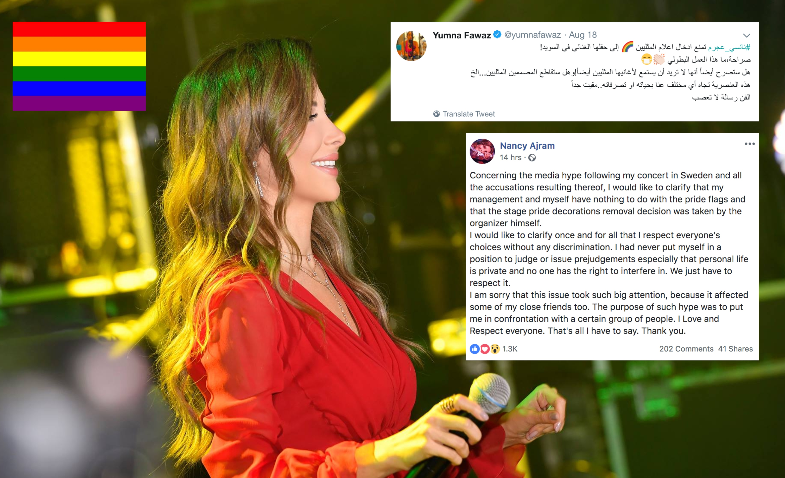 Nancy Ajram supports the LGBT+ community after controversy in Sweden