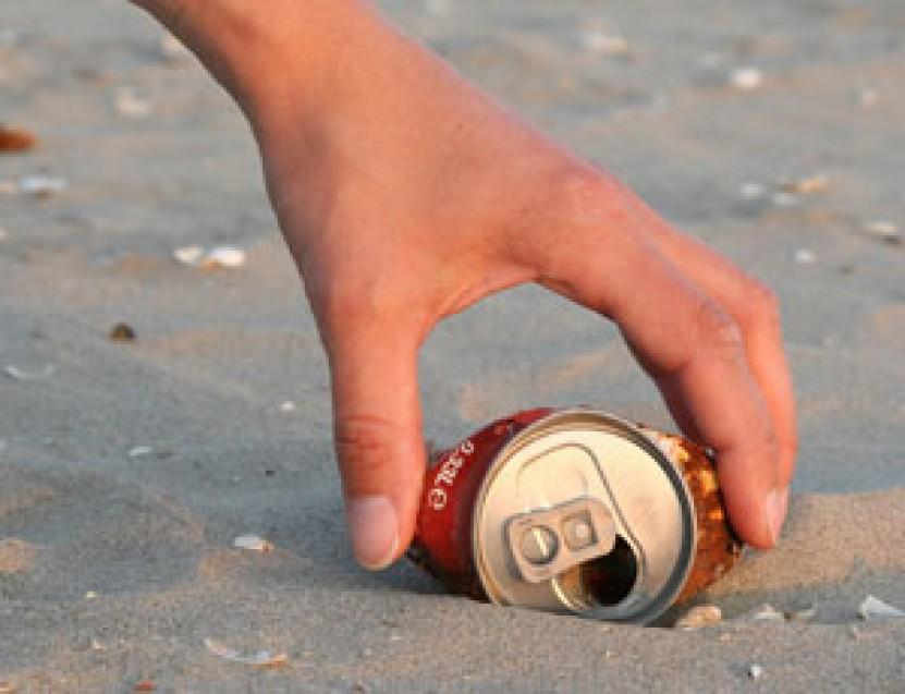 cleaning beach